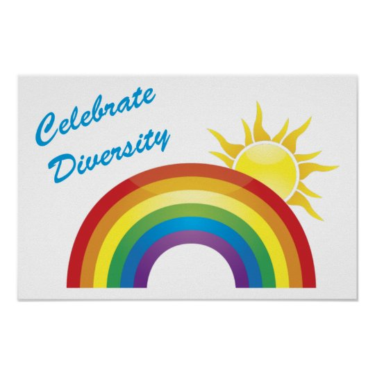 Celebrate Diversity Rainbow and Sun Posters,Prints Poster