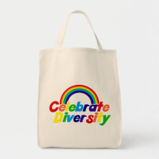 Celebrate Diversity Rainbow Grocery Tote Bag