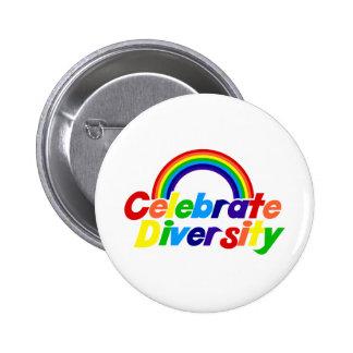 Celebrate Diversity Rainbow Pinback Button