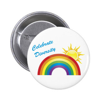 Celebrate Diversity Rainbow Sun Buttons