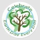 Celebrate Earth Day Every Day Round Sticker