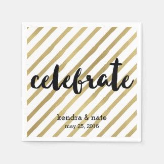 Celebrate | Faux Gold Stripe Wedding Anniversary Paper Napkin