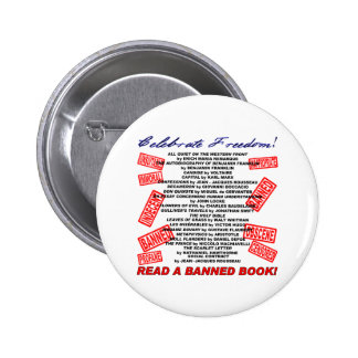 Celebrate Freedom!  Read a BANNED Book! (stamp) Pinback Button