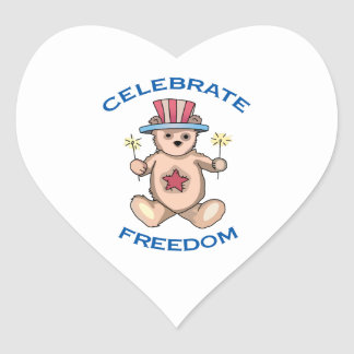 Celebrate Freedom ! Heart Sticker