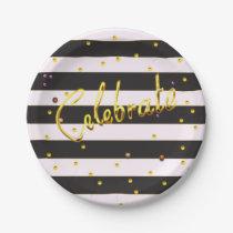Celebrate Gold Foil Black Stripe Paper Plates