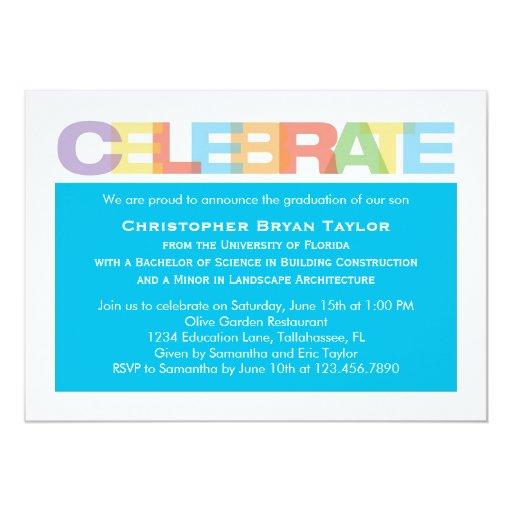 """Celebrate Graduation Invitation 5"""" X 7"""" Invitation Card"""