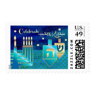 Celebrate Hanukkah. Menorah & Dreidels Stamps