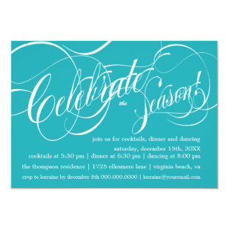 Celebrate Holiday Party Invitation - cozumel teal