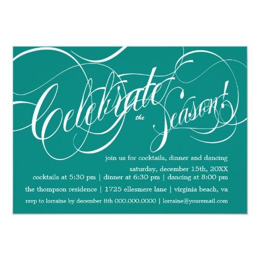 Celebrate Holiday Party Invitation - peacock
