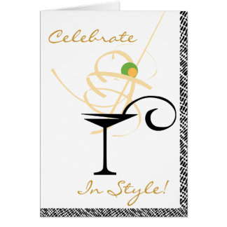Celebrate In Style Martini Swirl Happy Birthday Greeting Card