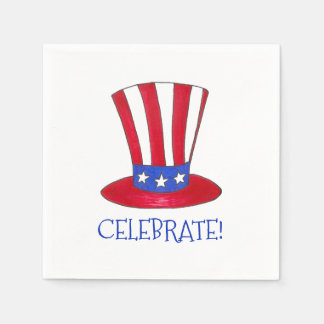 Celebrate July 4th Patriotic Uncle Sam USA America Napkin