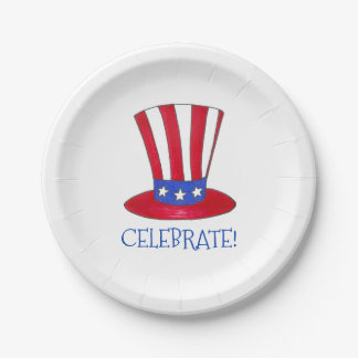 Celebrate July 4th Patriotic Uncle Sam USA America Paper Plate