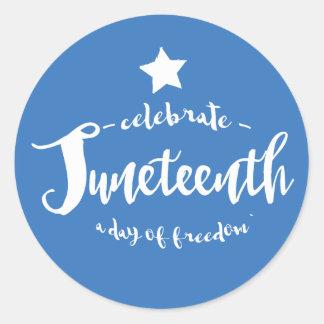 Celebrate Juneteenth Blue Classic Round Sticker