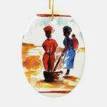 Celebrate Kwanzaa, Africa village life Christmas Ornament