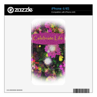 Celebrate life 2013 Iphone skin Decals For The iPhone 4S