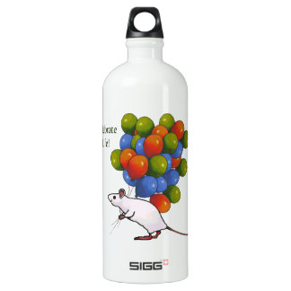 Celebrate Life! Cute Mouse With Many Balloons Aluminum Water Bottle