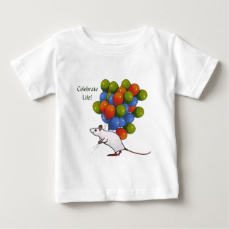 Celebrate Life! Mouse With MANY Balloons Baby T-Shirt