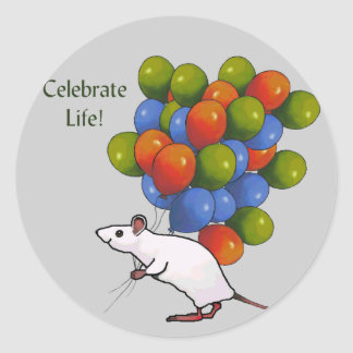 Celebrate Life! Mouse With MANY Balloons Classic Round Sticker