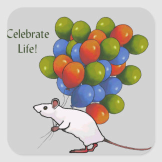Celebrate Life! Mouse With MANY Balloons Square Sticker