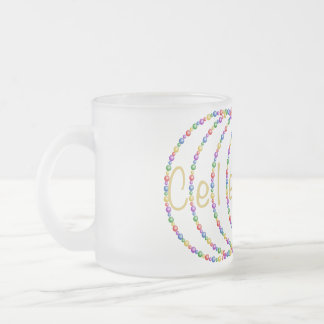 Celebrate Lights Design in Gold Frosted Glass Coffee Mug