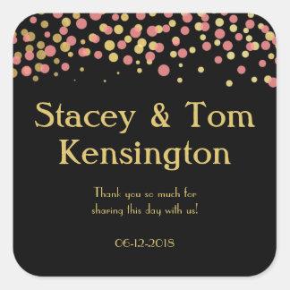 Celebrate Love – Baby / Coral Pink + Gold Square Sticker
