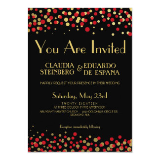 Celebrate Love – Candy / Apple Red + Gold Personalized Announcements