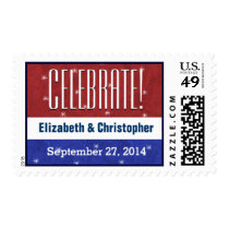 Celebrate Military Wedding Red White Blue V01 Postage