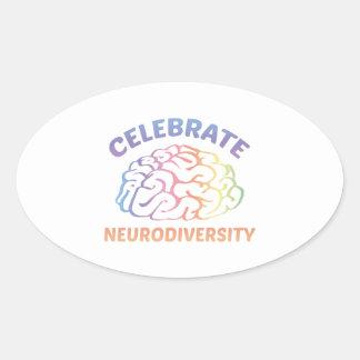 Celebrate Neurodiversity Oval Sticker