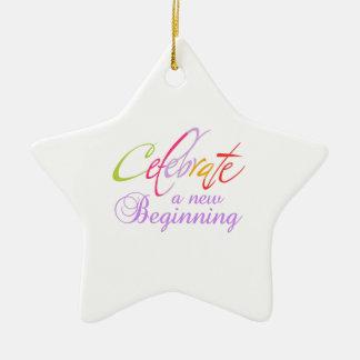 CELEBRATE NEW BEGINNING CERAMIC ORNAMENT