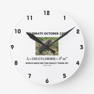 Celebrate October 23rd Which Mole Really Think Of? Round Clock