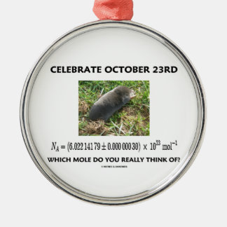 Celebrate October 23rd Which Mole Really Think Of? Round Metal Christmas Ornament
