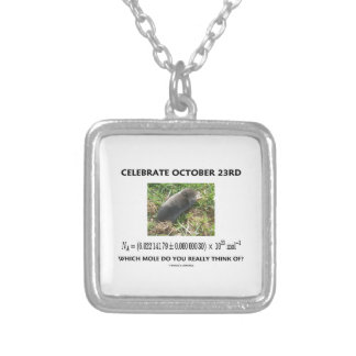 Celebrate October 23rd Which Mole Really Think Of? Silver Plated Necklace