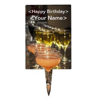 Celebrate -  Orange Girly Drinks in Fancy Glasses Cake Topper