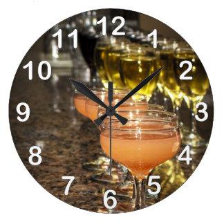 Celebrate -  Orange Girly Drinks in Fancy Glasses Wallclocks