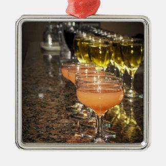Celebrate -  Orange Girly Drinks in Fancy Glasses Metal Ornament