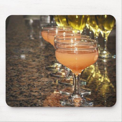 Celebrate -  Orange Girly Drinks in Fancy Glasses Mousepads