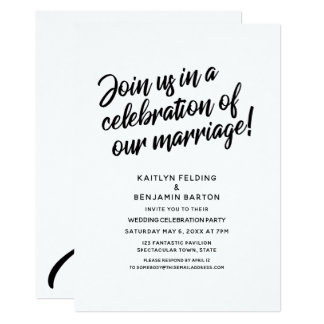 Celebrate Our Marriage Script Wedding Reception Card