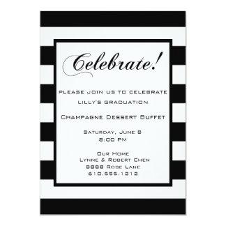 Celebrate! Party Invitation Black & White Stripes