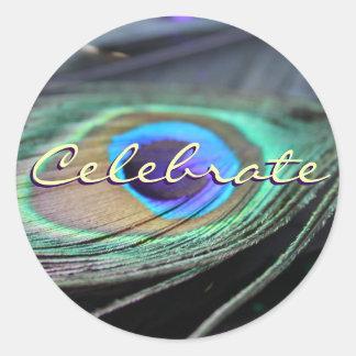 Celebrate Peacock Feather Custom Round Stickers