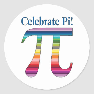 Celebrate Pi Rainbow.png Classic Round Sticker
