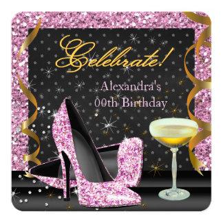Celebrate Pink Gold Black Glitter Birthday Party Card