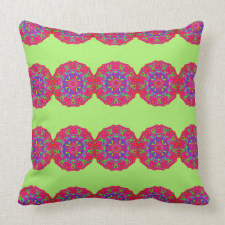 Celebrate Pink Mandala Bright Green Pillow