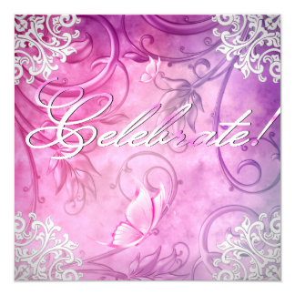 Celebrate Pink White Butterfly Floral Birthday Card