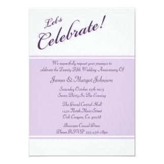 """Celebrate Purple 25th Anniversary Party Invitation 5"""" X 7"""" Invitation Card"""