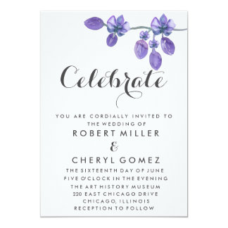 Celebrate Purple Watercolor Orchid Wedding Card
