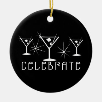 Celebrate - Retro Martinis - Black & White Double-Sided Ceramic Round Christmas Ornament