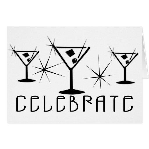Celebrate - Retro Martinis - Black & White Greeting Card