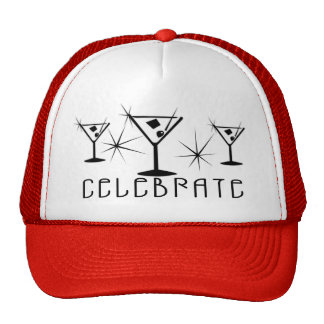 Celebrate - Retro Martinis - Black & White Trucker Hat