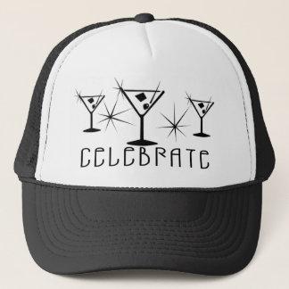Celebrate - Retro Martinis - Black & White Trucker Hat