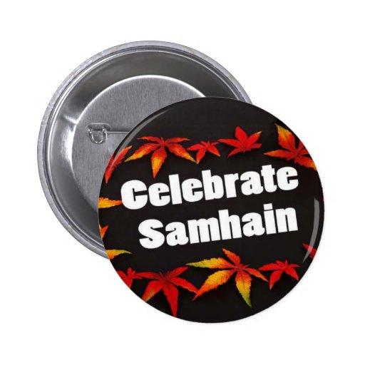 Celebrate Samhain Black Button
